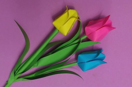 DIY craft of Decorative Spring Paper Tulips