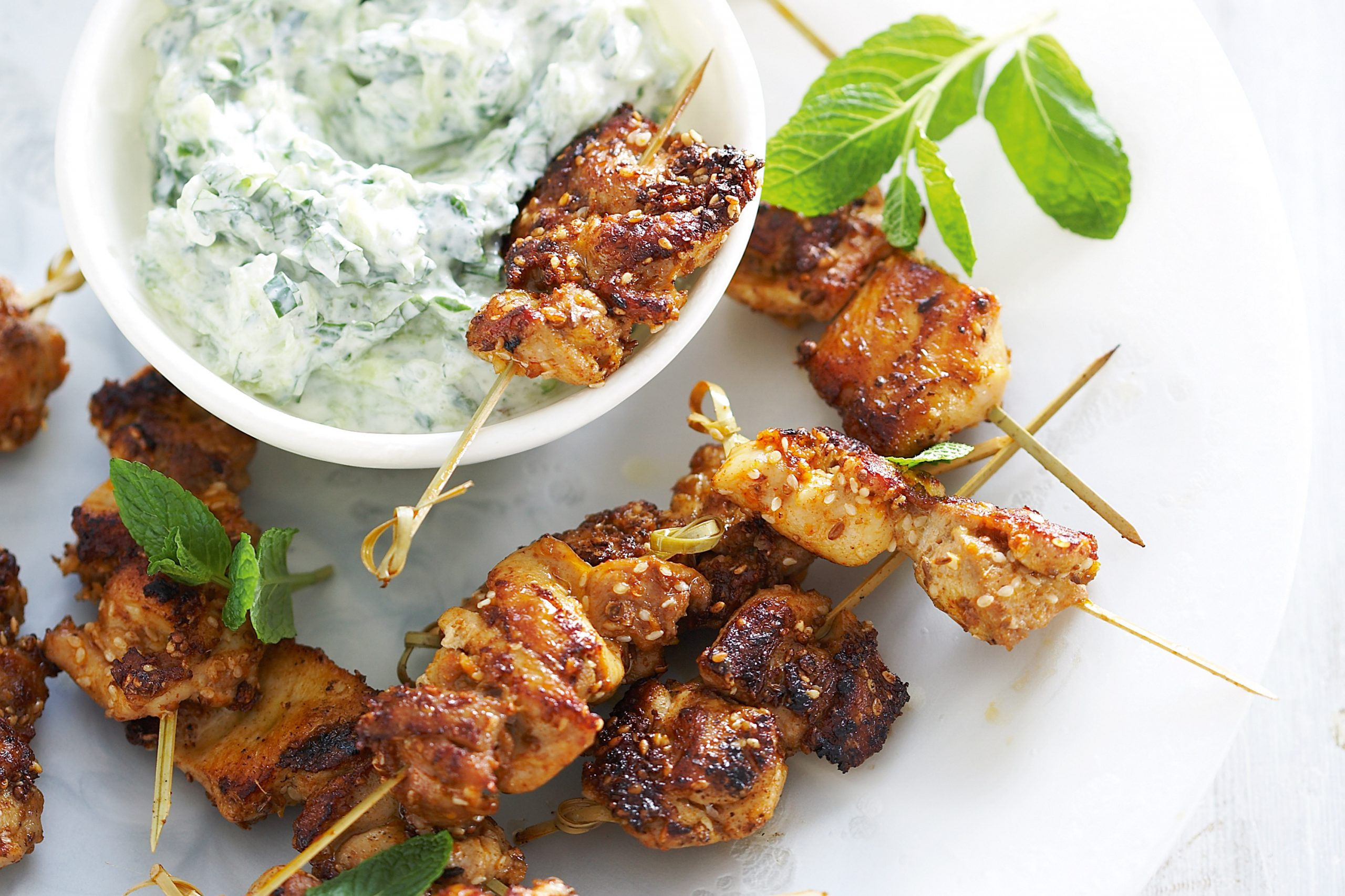 Chicken skewers with tzatziki